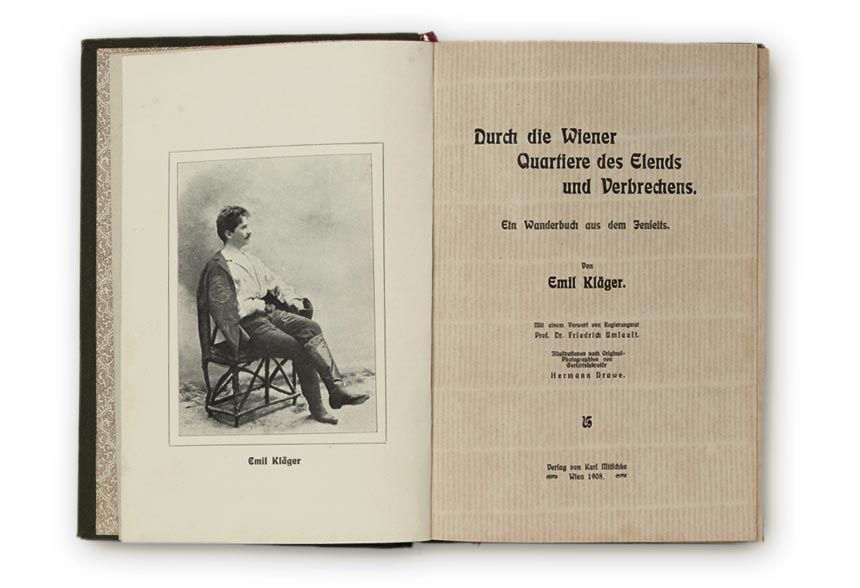 Title page with portrait of Emil Kläger by Hermann Drawe