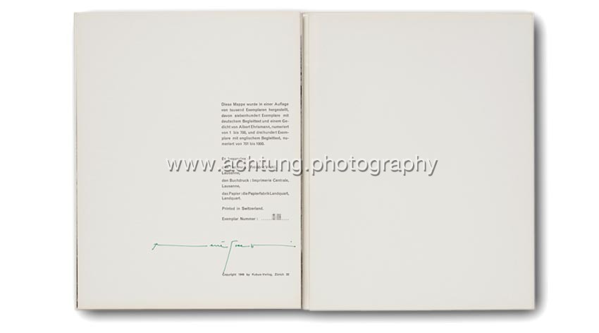 René Groebli, Magie der Schiene, 1949, credits page with edition number and René Groebli's signature